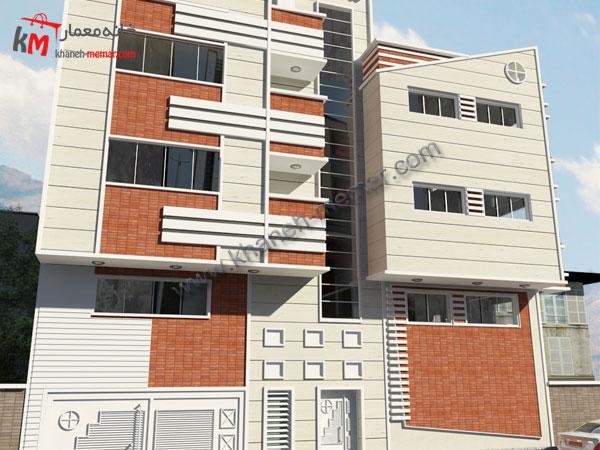 نقشه |نما |پلان آپارتمان چهار طبقه