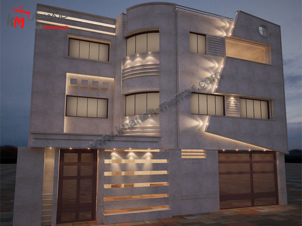 پلان سه طبقه |نما مدرن |پلان ساختمان مدرن30.55×12