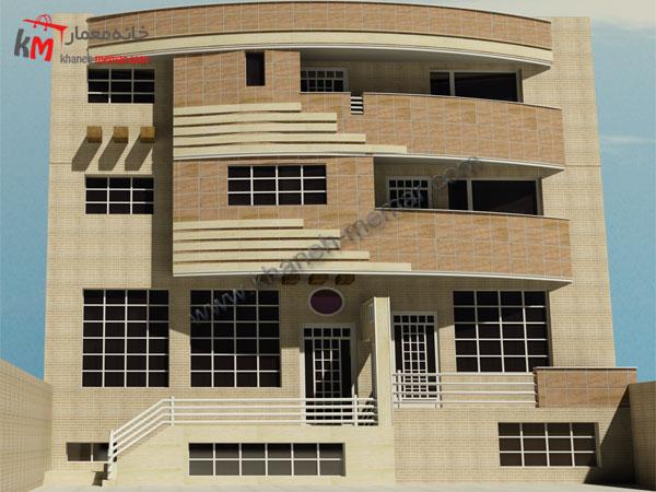 پلان آپارتمان  نما مدرن  ساختمان مسکونی چهار طبقه25×12
